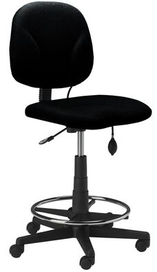 Comfort Series Quick Ship Swivel Task Stool with Twist and Lock Height Adjustable Footring - Black