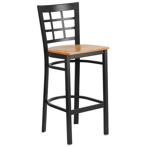 Our Black Window Back Metal Restaurant Barstool with Natural Wood Seat is on sale now.