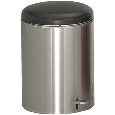 Small Hands-Free Step-On Receptacle with Galvanized Liner - Stainless Steel
