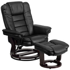 Contemporary Multi-Position Recliner with Horizontal Stitching and Ottoman with Swivel Mahogany Wood Base in Black LeatherSoft