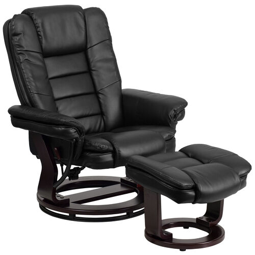 Our Contemporary Multi-Position Recliner with Horizontal Stitching and Ottoman with Swivel Mahogany Wood Base in Black LeatherSoft is on sale now.