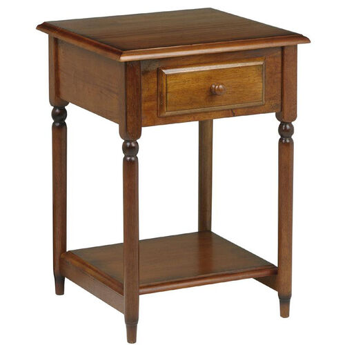 OSP Designs Knob Hill Wood Accent Table with Storage Drawer and Shelf - Cherry