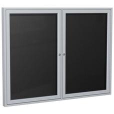 2-Door Satin Aluminum Framed Enclosure Letterboard - Black