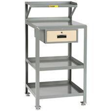 4 Shelf Steel Shop Desk with 1 Locking Drawer - 24