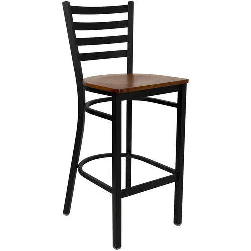 Our HERCULES Series Black Ladder Back Metal Restaurant Barstool - Cherry Wood Seat is on sale now.