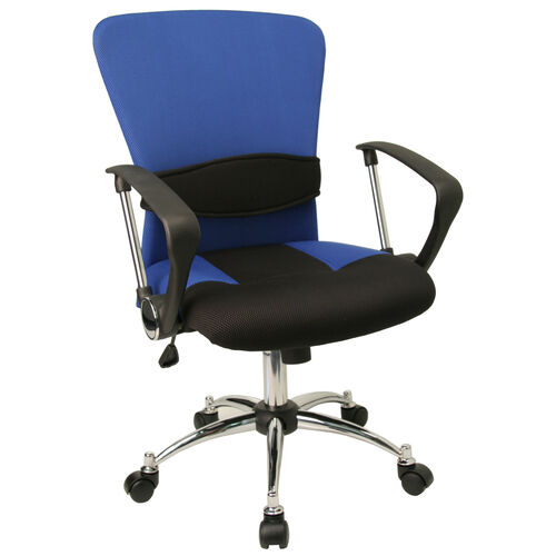 Our Mid-Back Blue Mesh Swivel Task Office Chair with Adjustable Lumbar Support and Arms is on sale now.