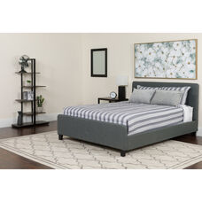Tribeca Full Size Tufted Upholstered Platform Bed in Light Gray Fabric with Memory Foam Mattress