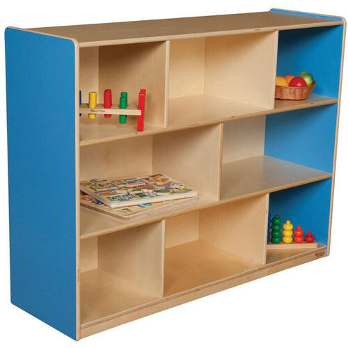 Wooden 8 Compartment Single Mobile Storage Unit - Blueberry - 48