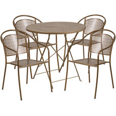 """Commercial Grade 30"""" Round Gold Indoor-Outdoor Steel Folding Patio Table Set with 4 Round Back Chairs"""