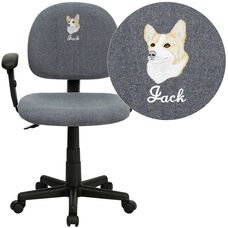 Embroidered Mid-Back Gray Fabric Swivel Task Chair with Adjustable Arms