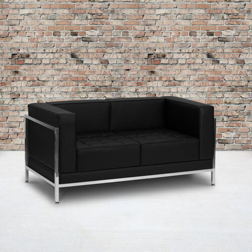 HERCULES Imagination Series Contemporary LeatherSoft Modular Loveseat with Quilted Tufted Seat and Encasing Frame