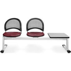 Moon 3-Beam Seating with 2 Wine Vinyl Seats and 1 Table - Gray Nebula Finish