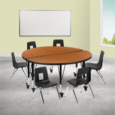 """Mobile 47.5"""" Circle Wave Collaborative Laminate Activity Table Set with 12"""" Student Stack Chairs, Oak/Black"""