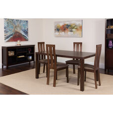 Madison 5 Piece Espresso Wood Dining Table Set with Vertical Wide Slat Back Wood Dining Chairs - Padded Seats