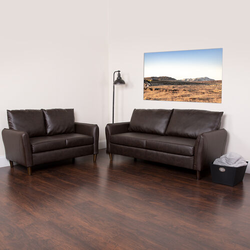Our Milton Park Upholstered Plush Pillow Back Loveseat and Sofa Set in Brown LeatherSoft is on sale now.