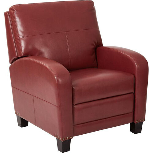 Our Inspired by Bassett Wellington Bonded Leather Recliner with Antique Bronze Nail Heads - Merlot is on sale now.