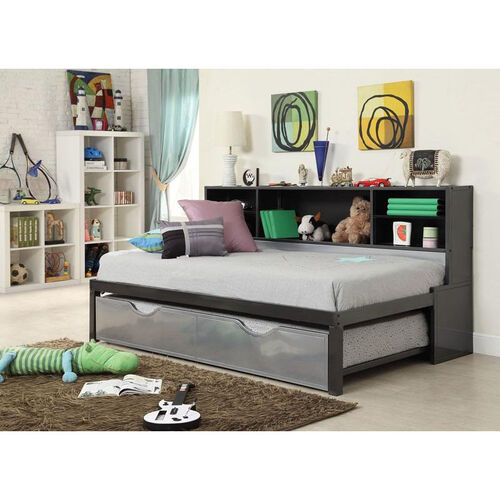 Our Renell Complete Twin Bed with Bookcase and Trundle - Black and Silver is on sale now.