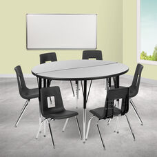 "47.5"" Circle Wave Collaborative Laminate Activity Table Set with 16"" Student Stack Chairs, Grey/Black"