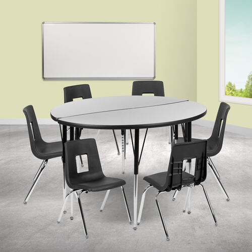 """47.5"""" Circle Wave Collaborative Laminate Activity Table Set with 16"""" Student Stack Chairs, Grey/Black"""