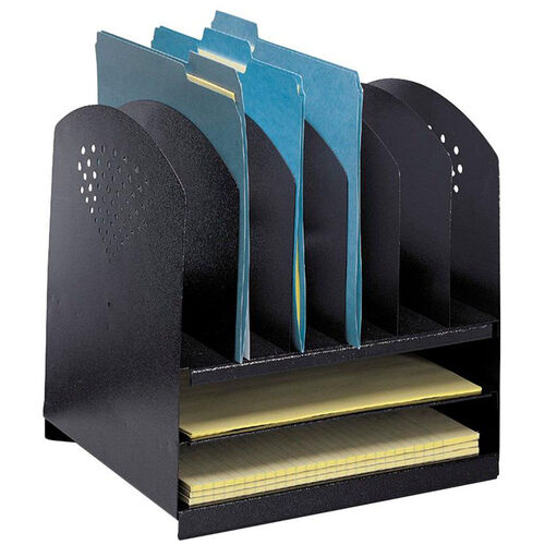 Our Six Upright and Two Horizontal Sections Combination Desk Rack - Black is on sale now.