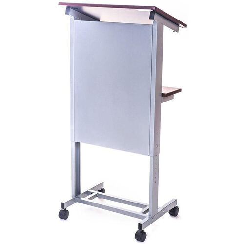 Our Adjustable Height Mobile Presentation Lectern with 2 Dark Walnut Laminate Shelves - 23.5