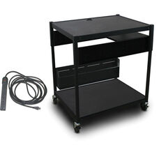 Spartan Series Adjustable Media Projector Cart with One Pull-Out Side-Shelf and Eight Outlet Electrical Unit - Black
