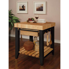 Kitchen Island with Wood Butcher Black - Black