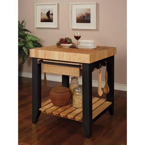 Our Kitchen Island with Wood Butcher Black - Black is on sale now.