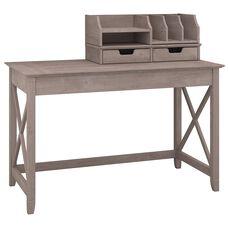 "Key West 48""W Writing Desk with Desktop Organizers - Washed Gray"