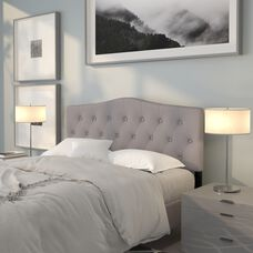 Cambridge Tufted Upholstered Queen Size Headboard in Light Gray Fabric