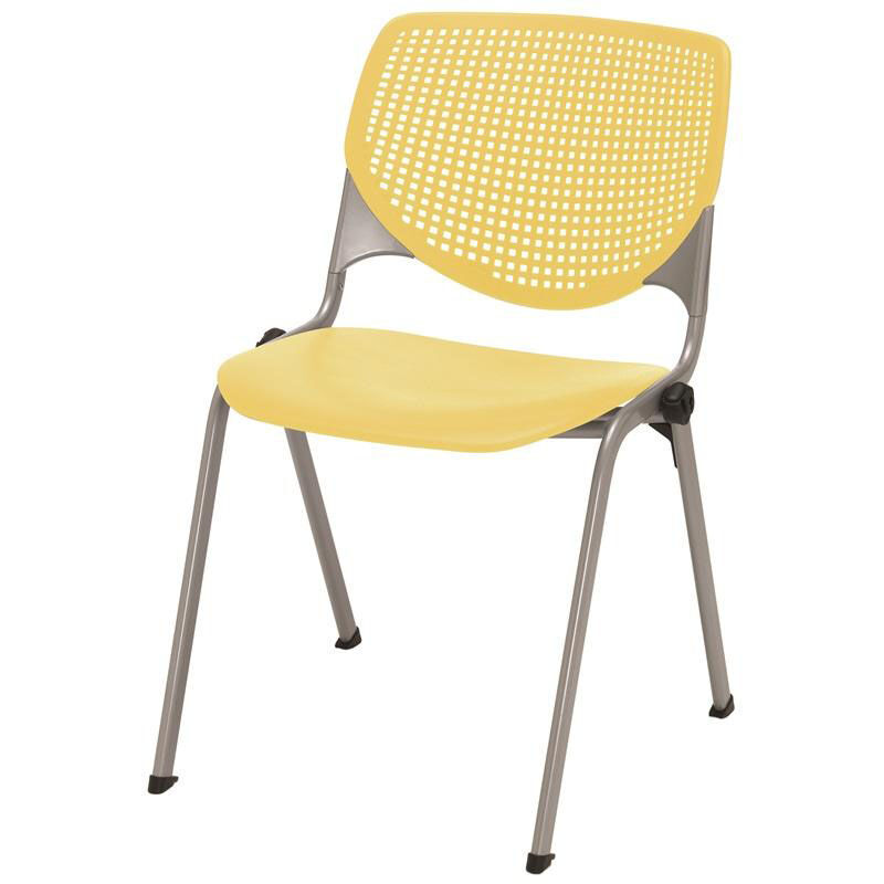 Merveilleux 2300 KOOL Series Stacking Poly Armless Chair With Perforated Back And  Silver Frame   Yellow