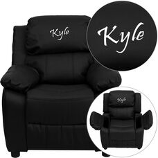 Personalized Deluxe Padded Black LeatherSoft Kids Recliner with Storage Arms