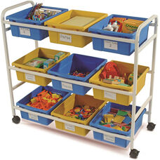 Multi-Purpose Classroom/Library Cart with 5 Blue and 4 Yellow Tubs - 40''W x 16''D x 36''H