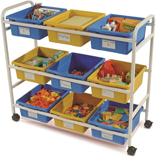 Our Multi-Purpose Classroom/Library Cart with 5 Blue and 4 Yellow Tubs - 40