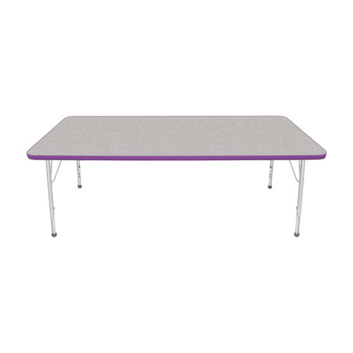 Our Adjustable Standard Height Laminate Top Rectangular Activity Table - Nebula Top with Purple Edge and Legs - 72