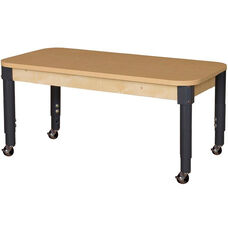 Mobile Rectangular High Pressure Laminate Table with Adjustable Steel Legs - 48