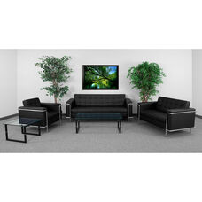 "HERCULES Lesley Series Living Room Set in Black LeatherSoft with <span style=""color:#0000CD;"">Free </span> Glass Coffee and End Table"