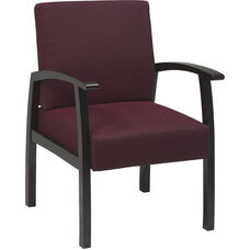 Work Smart Deluxe Guest Chair with Wood Base and Arms and Lumbar Support - Mahogany