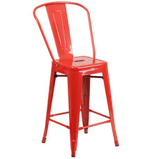 "Commercial Grade 24"" High Red Metal Indoor-Outdoor Counter Height Stool with Back"