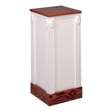 Red Oak Colonial Finish Closed Flower Stand with Accents and Fluted Column Corners