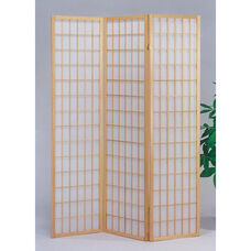 Naomi Decorative Room Divider with Pine Frame and 3 Fabric Panels - Natural