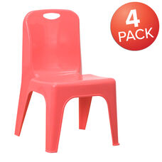 4 Pack Red Plastic Stackable School Chair with Carrying Handle and 11