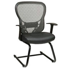 Space Deluxe R2 SpaceGrid® Back Visitors Chair with Fixed Arms and Bonded Leather Seat - Black