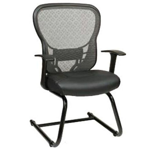 Our Space Deluxe R2 SpaceGrid® Back Visitors Chair with Fixed Arms and Bonded Leather Seat - Black is on sale now.