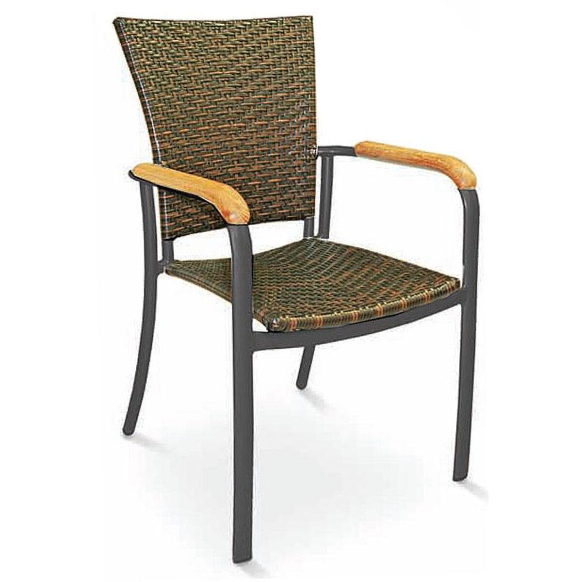 Stacking Arm Chair Weave Al 5605 Safari Black Bizchair Com