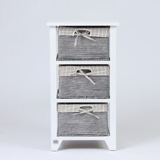 3 Shelf Storage Basket Tower End Table in White