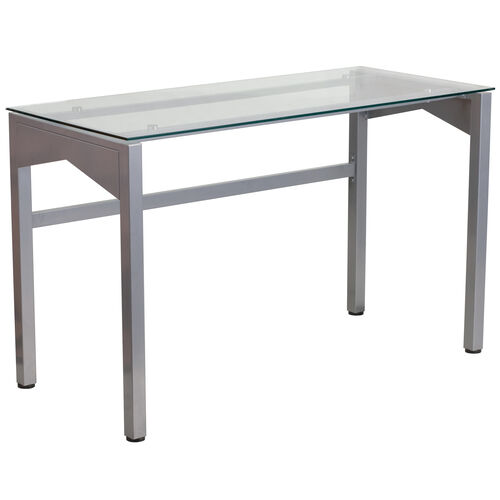 Our Contemporary Clear Tempered Glass Desk with Geometric Sides is on sale now.