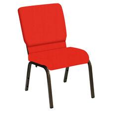 HERCULES Series 18.5''W Church Chair in E-Z Wallaby Poppy Vinyl - Gold Vein Frame