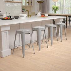 "24"" High Metal Counter-Height, Indoor Bar Stool - Stackable Set of 4"