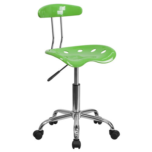 Our Vibrant Spicy Lime and Chrome Swivel Task Office Chair with Tractor Seat is on sale now.